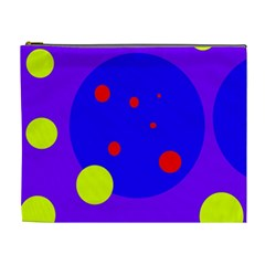 Purple and yellow dots Cosmetic Bag (XL)