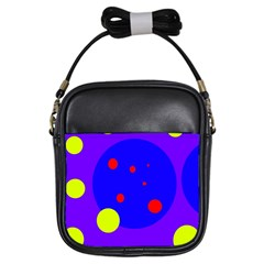 Purple and yellow dots Girls Sling Bags