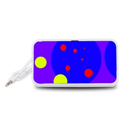 Purple and yellow dots Portable Speaker (White)