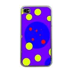 Purple and yellow dots Apple iPhone 4 Case (Clear)