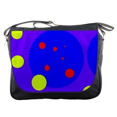 Purple and yellow dots Messenger Bags