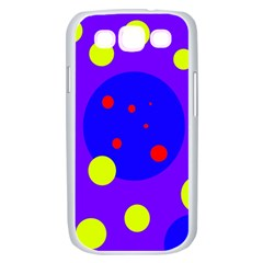 Purple and yellow dots Samsung Galaxy S III Case (White)