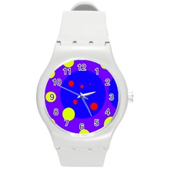 Purple and yellow dots Round Plastic Sport Watch (M)