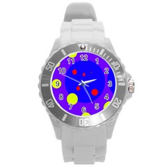 Purple and yellow dots Round Plastic Sport Watch (L)