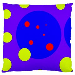 Purple and yellow dots Large Cushion Case (One Side)