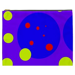 Purple and yellow dots Cosmetic Bag (XXXL)
