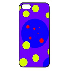 Purple and yellow dots Apple iPhone 5 Seamless Case (Black)