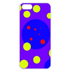 Purple and yellow dots Apple iPhone 5 Seamless Case (White)