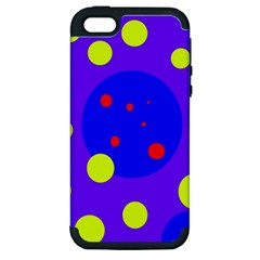 Purple and yellow dots Apple iPhone 5 Hardshell Case (PC+Silicone)
