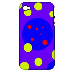 Purple and yellow dots Apple iPhone 4/4S Hardshell Case (PC+Silicone)