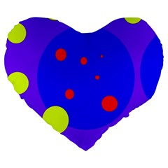 Purple and yellow dots Large 19  Premium Heart Shape Cushions