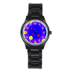 Purple and yellow dots Stainless Steel Round Watch
