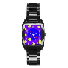 Purple and yellow dots Stainless Steel Barrel Watch