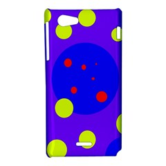 Purple and yellow dots Sony Xperia J