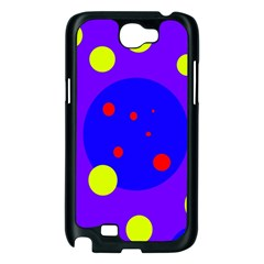 Purple and yellow dots Samsung Galaxy Note 2 Case (Black)