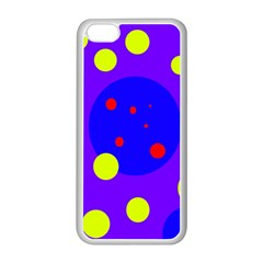 Purple and yellow dots Apple iPhone 5C Seamless Case (White)