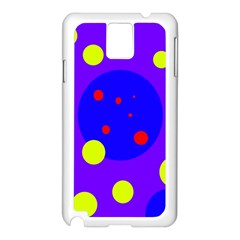 Purple and yellow dots Samsung Galaxy Note 3 N9005 Case (White)