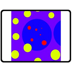 Purple and yellow dots Double Sided Fleece Blanket (Large)