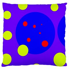 Purple and yellow dots Large Flano Cushion Case (One Side)