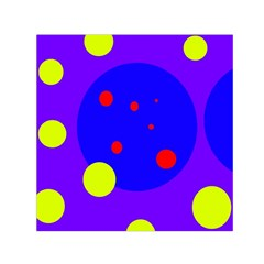 Purple and yellow dots Small Satin Scarf (Square)