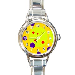 Yellow and purple dots Round Italian Charm Watch