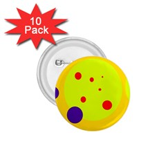 Yellow and purple dots 1.75  Buttons (10 pack)