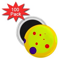 Yellow and purple dots 1.75  Magnets (100 pack)