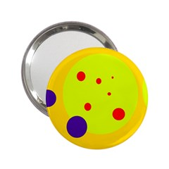 Yellow and purple dots 2.25  Handbag Mirrors