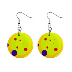 Yellow And Purple Dots Mini Button Earrings