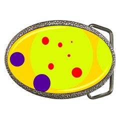 Yellow and purple dots Belt Buckles