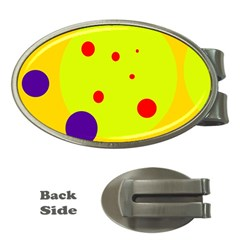 Yellow and purple dots Money Clips (Oval)