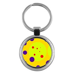 Yellow and purple dots Key Chains (Round)