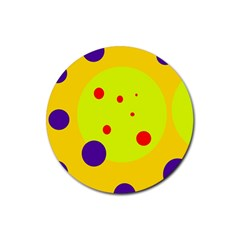 Yellow and purple dots Rubber Coaster (Round)