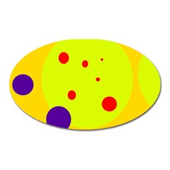 Yellow and purple dots Oval Magnet