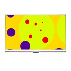 Yellow and purple dots Business Card Holders