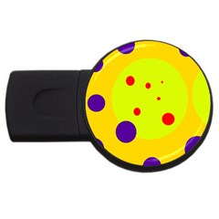Yellow and purple dots USB Flash Drive Round (1 GB)