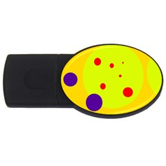 Yellow and purple dots USB Flash Drive Oval (2 GB)