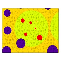 Yellow and purple dots Rectangular Jigsaw Puzzl