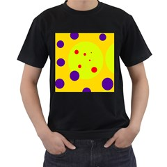 Yellow and purple dots Men s T-Shirt (Black) (Two Sided)