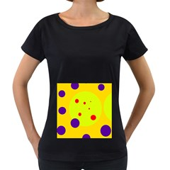 Yellow and purple dots Women s Loose-Fit T-Shirt (Black)