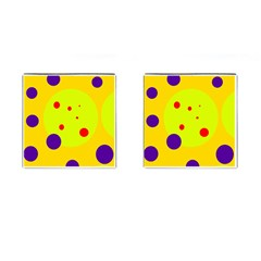 Yellow and purple dots Cufflinks (Square)