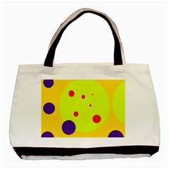Yellow and purple dots Basic Tote Bag