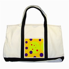 Yellow and purple dots Two Tone Tote Bag