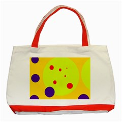 Yellow and purple dots Classic Tote Bag (Red)