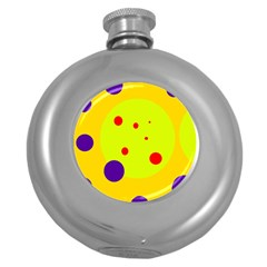 Yellow and purple dots Round Hip Flask (5 oz)