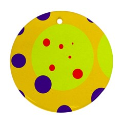 Yellow and purple dots Round Ornament (Two Sides)