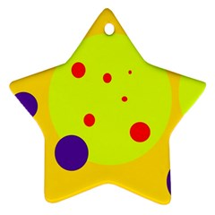 Yellow and purple dots Star Ornament (Two Sides)