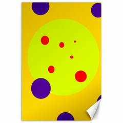 Yellow and purple dots Canvas 24  x 36