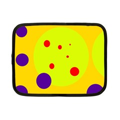 Yellow and purple dots Netbook Case (Small)