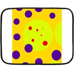 Yellow and purple dots Double Sided Fleece Blanket (Mini)